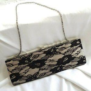 Jessica McClintock Clutch Black Lace Bag Gunne Sax